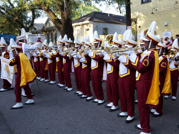 This marching band is possible thanks to donated instruments.